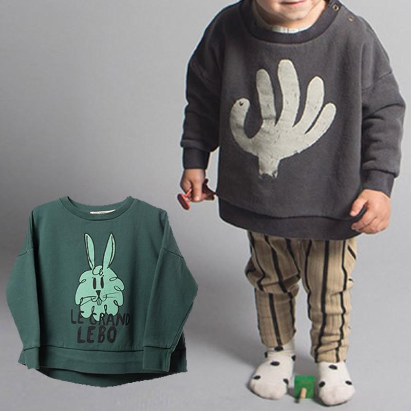 BBK-2016-NEW-Bobo-Choses-Sweatshirt-girls-Hand-Makeup-green-Rabbit-Pattern-cotton-100-Hoodies-baby