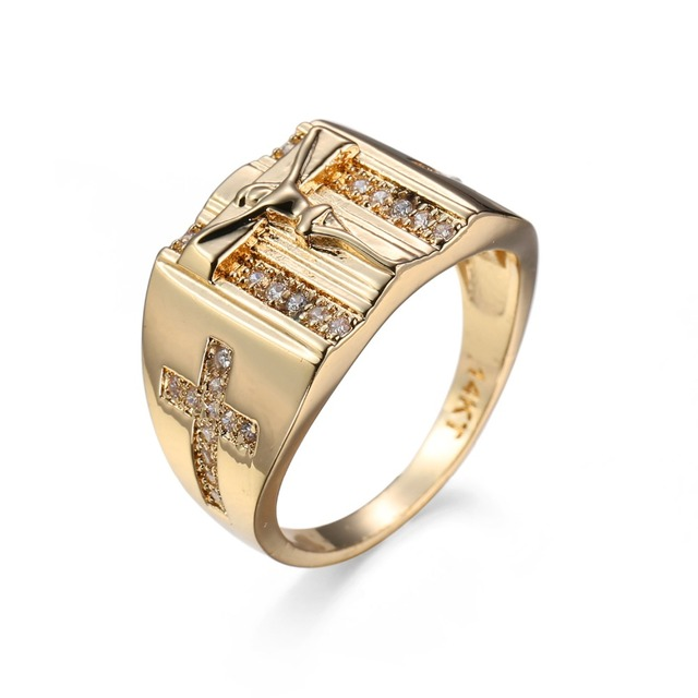 8856bc3e9406 Anillos de oro Vintage Jesús Cruz Signet tallado para hombres mujeres  Anillos Zirconia cúbica anillo de