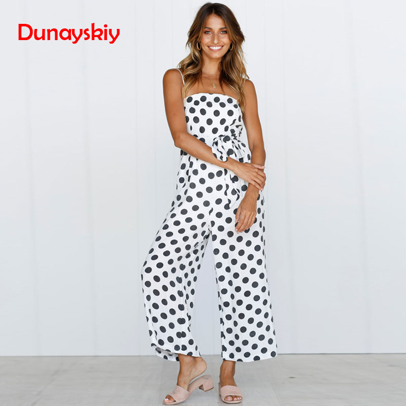 Women Rompers Summer Long Pants Elegant Strap Woman   Jumpsuits   2019 Polka Dot Plus Size   Jumpsuit   Off Shoulder Overalls For Womens