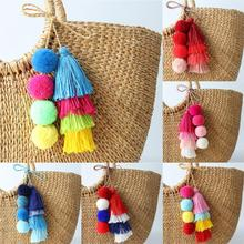 1 Pc Handmade Pom Pom Colorful 4 Layered Tassel Keychain Bag charms Gradient Col
