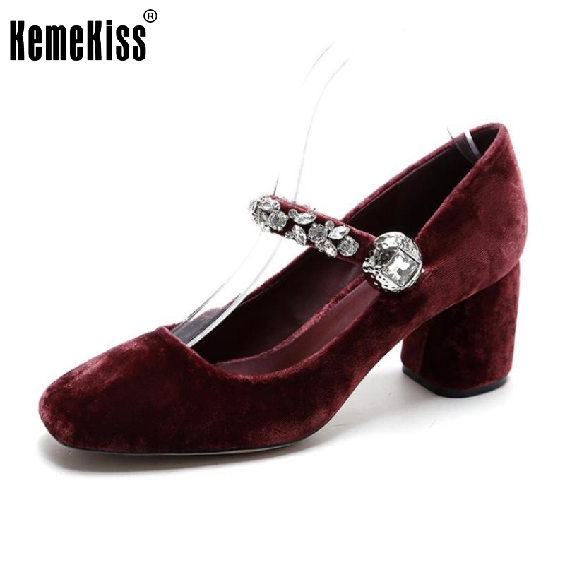 Women Genuine Leather High Heels Shoes Women Buckle Thick Heels Pumps Rhinestone Square Toe Shoes Fashion Footwear Size 34-39