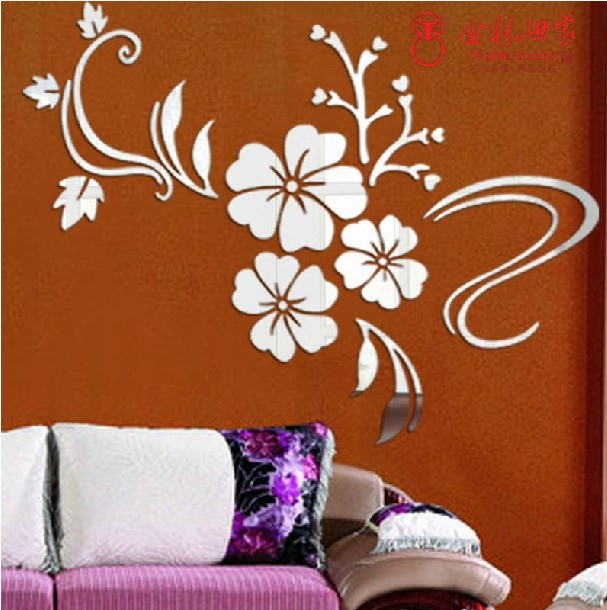 Attrayant Modern Wall Sticker Home Decor Art DIY Flower Vine Acrylic Mirror Art Mural  Bedroom Closet Bathroom Decals Romantic Best Gift In Wall Stickers From Home  ...