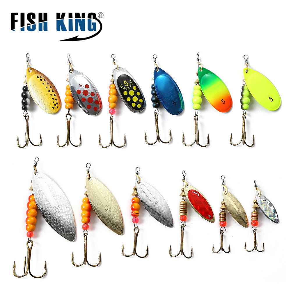 FISH KING 1pc Spinner Bait 1#/2#/3#/4#/5# Metal Fishing Lure Hard Baits Spoon Lures With Treble Hooks Arttificial Bass Bait(China)