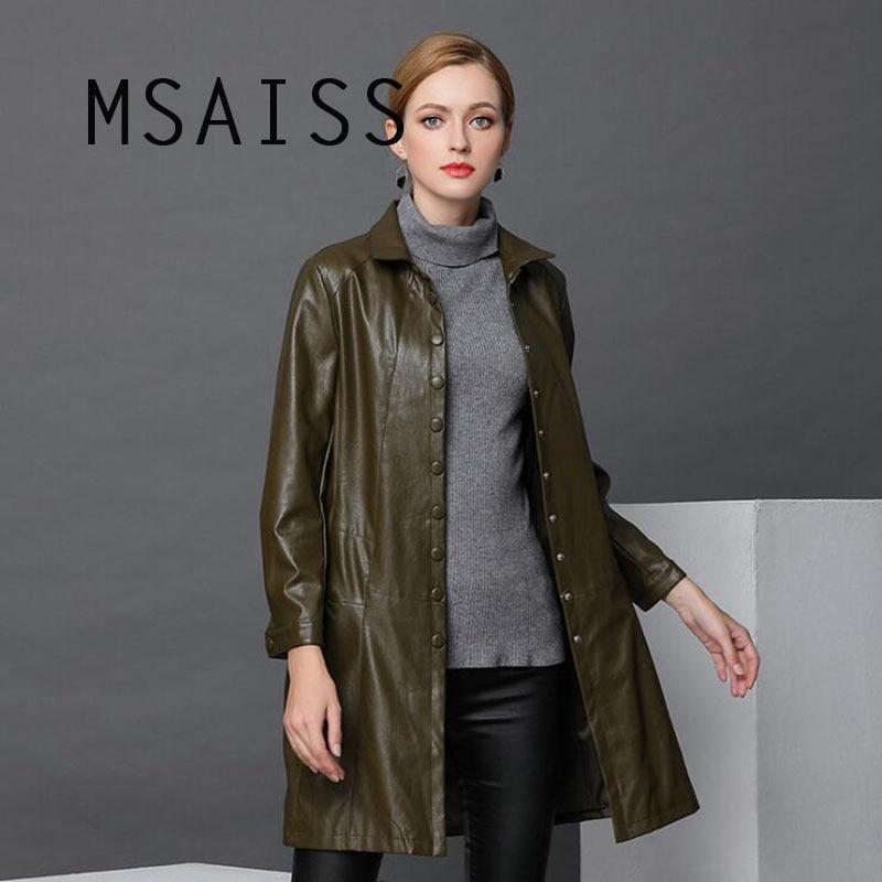 MSAISS 2018 Autumn Plus Size Soft Faux   Leather   Jacket Women Winter Loose Long Coat Female   Leather   Jacket Outwear Windbreaker