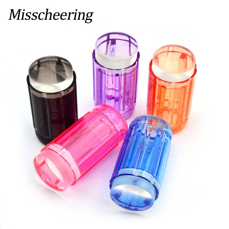 Nieuwe hoogwaardige snoep kleur handvat clear jelly stamper zachte siliconen nail art stempel stempelen set diy nail art decoratie gereedschap