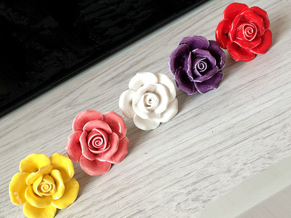 Red Rose Ceramic Dresser Drawer Knobs Flower Kitchen Cabinet Knobs Pulls Handles Decorative Furniture Knob Handle 6 1 3 large drawer handles cabinet handle pulls dresser pulls knobs kitchen door hardware back plate antique silver