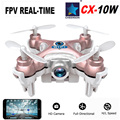 Mini WIFI Drone Cheerson CX-10W Avión Rc Helicóptero Quadcopter Con Cámara 0.3MP 720 P LLEVÓ la Luz de Juguete Manía 4CH 6 Axis 3D Rollo Dron