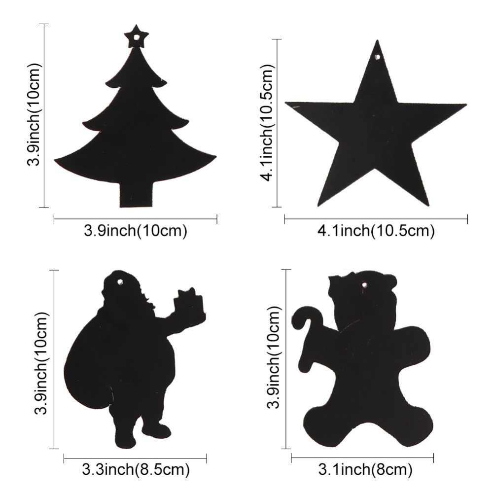 OurWarm 24 قطعة اللون السحري خدش عيد الميلاد الحلي أوراق لطيفة المعلقات شجرة عيد الميلاد الديكور الاطفال لوازم الحفلات