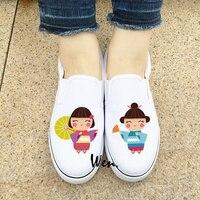 Wen Design Originale Giapponese Bambole Slip On Appartamenti di Scarpe Da Donna Bianco Nero Canvas Sneakers per la Ragazza Delle Signore Calzature