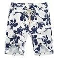 2016 Hombres Del Verano Hasta La Rodilla Pantalones Cortos de Lino Ocasionales de Los Hombres de Moda Slim Fit Plus Size Beach Floral Shorts Outwear Hombres Pantalones Hombre