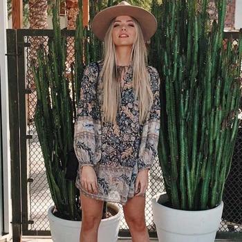 eb7a2ed0de54 Cheap Dresses. Jastie Boho Oasis Long Sleeve Mini Dress V Neck with Tie Hippie  Chic ...