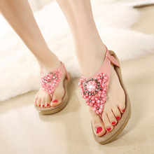 2016 New Women's Korean Elegant Flower Rhinestone Flip-Flops Sandals Bohemian Casual Flat Shoes Black Beige Pink