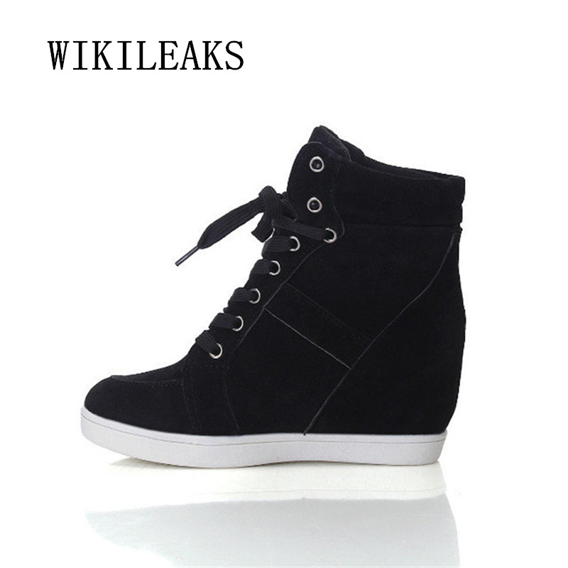 2018 Casual Shoes Women Height Increasing Platform Sneakers Wedges Shoes For Woman Lace-up High Top Genuine Suede Women Shoes bonjomarisa large size 33 42 women s genuine leather lace up wedges increasing platform shoes woman casual spring flats