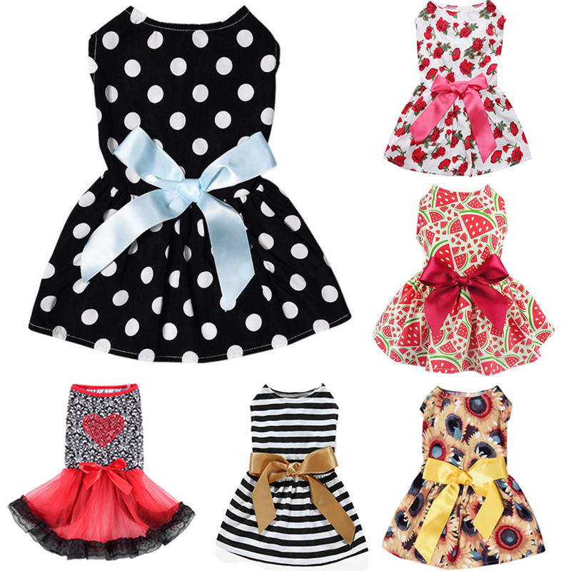 HELLOMOON Cute Polka Dot Ribbon Dog Summer Clothes Cozy Sleeveless Pet Shirt Dress Sundress Princess Party Small Dog Dress