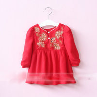Everweekend Girls Floral Embroidered Tees Sweet Baby Button Red and White Color Tops Cute Children Western Fashion Fall Clothing
