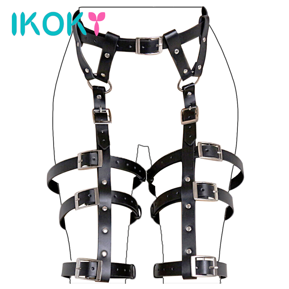 IKOKY Flirt Clothes PU Leather SM Bondage Gear Fetish Sex Toys For Couples Erotic Products Adult Games Role Play
