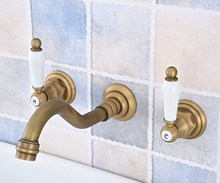 цена на Antique Brass Widespread Wall-Mounted Tub 3 Holes Dual Ceramic Handles Kitchen Bathroom Tub Sink Basin Faucet Mixer Tap asf532