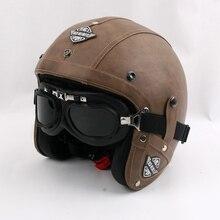 2016 nueva marca kco open face casco de la motocicleta retro de cuero de la pu vendimia casco de moto casco de moto casco con gafas gratis