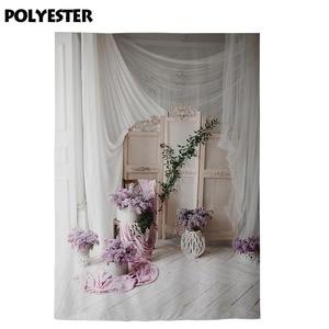 Image 4 - Allenjoy Photography backdrop wedding flower Vintage decorated wooden floor window background photocall photobooth photo shoot