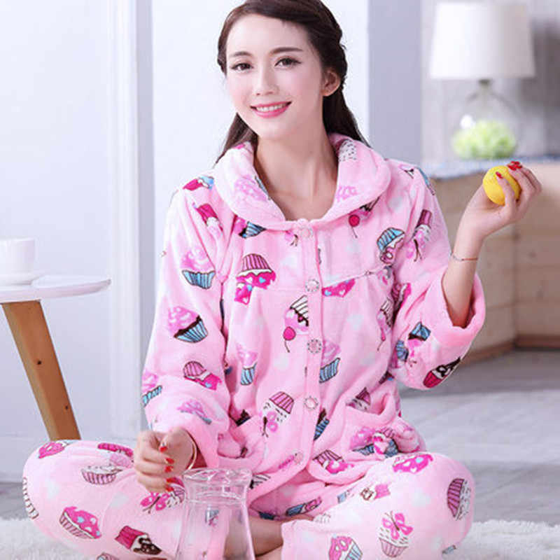 cef72bcc04 Pajama Female Winter Thick Flannel Cute Cake Print Warm Pajama Set Long  Sleeve Full Trousers Two