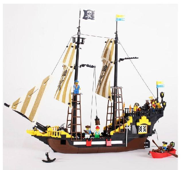 Enlighten bricks Adventures pirate ship big building block set large construction kid intellectual assembling toy gift susengo pirate model toy pirate ship 857pcs building block large vessels figures kids children gift compatible with lepin