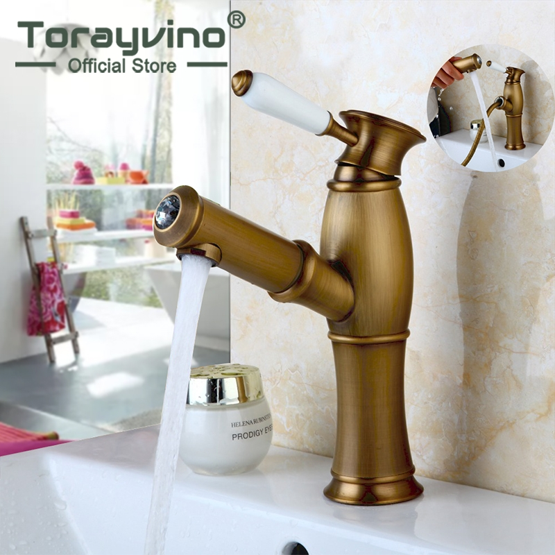 bathroom pull out faucet Antique Brass Basin Faucet Faucet Hot Cold Water Basin Faucet bathroom taps blackened bronze square washing basin faucet one handle pull out sprayer bathroom vessel sink hot and cold water taps