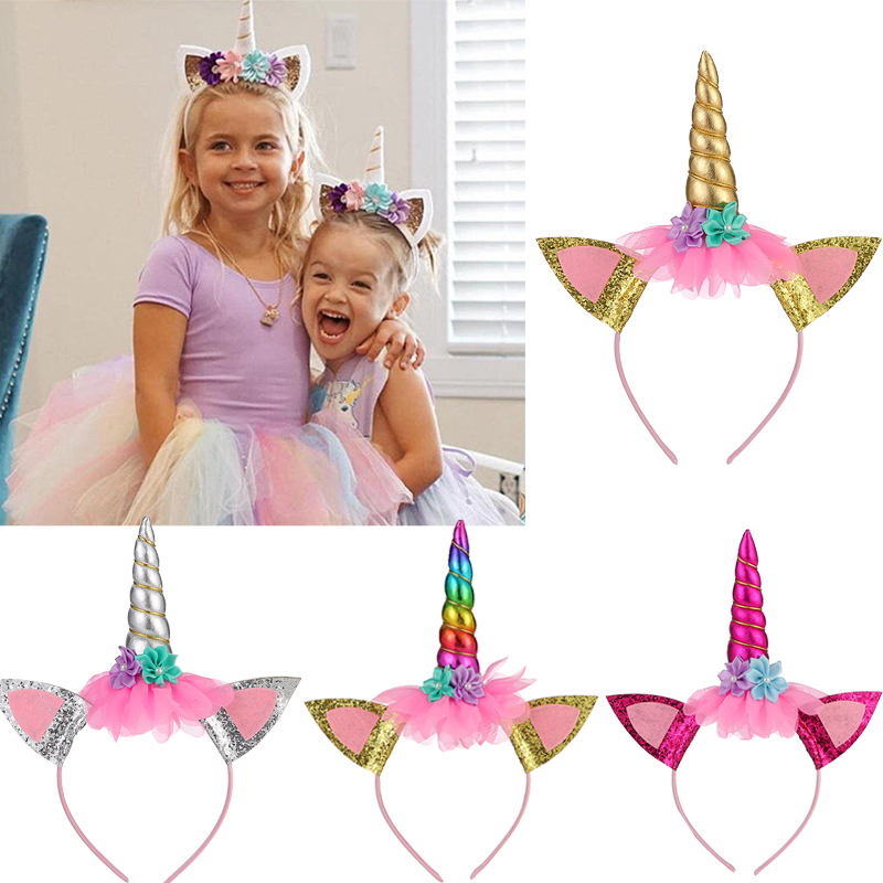 Kids Princess Unicorn Headband Glitter Ears Hairband Rainbow Horn Headwear Christmas Party Hair Accessories Birthday Gift DIY