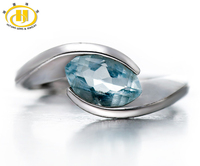 Hutang Stone Jewelry Natural Aquamarine Solid 925 Sterling Silver Ring Gemstone Wedding Fine Jewelry Women's Valentine's day