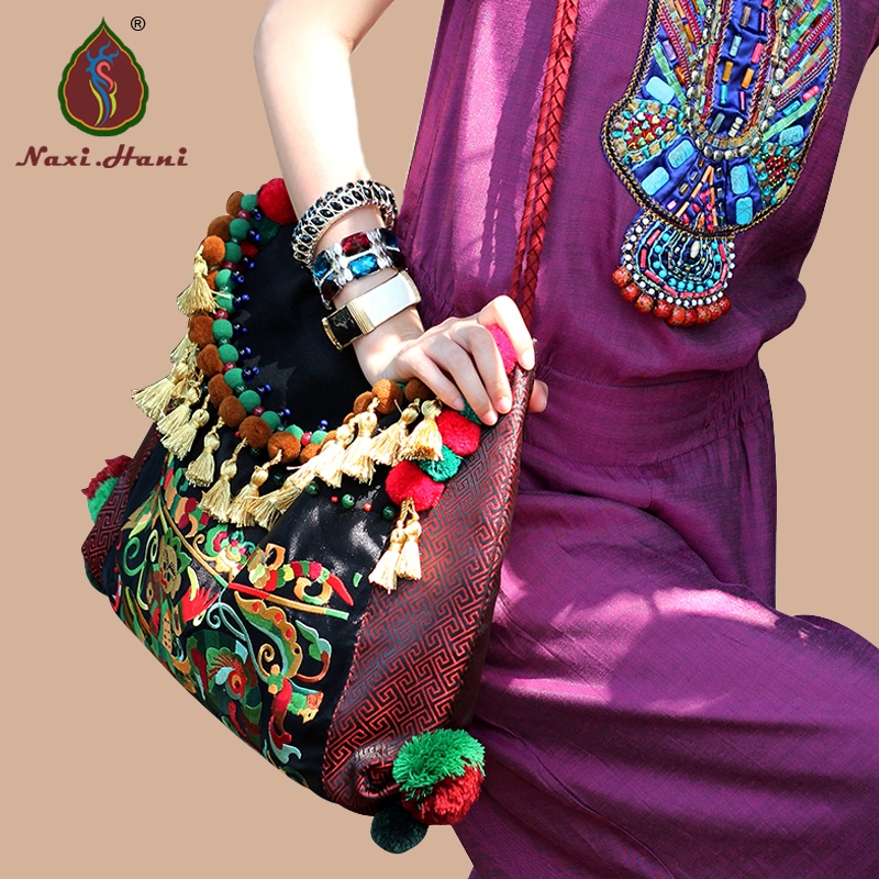 HOT Naxi.Hani Original design ethnic embroidery trend canvas handmade tassel women shoulder bags 100 super cute little embroidery chinese embroidery handmade art design book