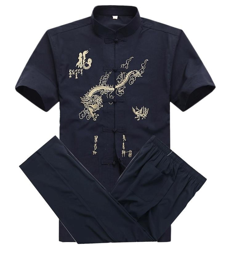 Chinese Men Cotton Kung Fu Suit Embroidery  Wu Shu Uniform Tai Chi Clothing Short Sleeve Shirt+Pant M L XL XXL XXXL MS013