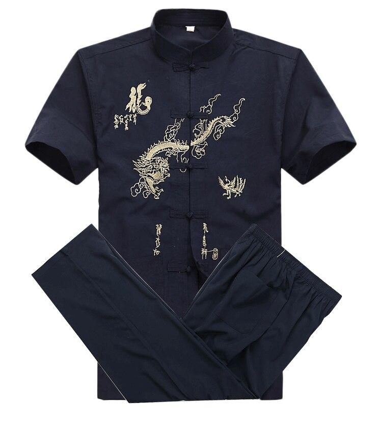 Китайский Мужской Хлопковый костюм кунг фу с вышивкой Wu Shu Униформа тайцзи одежда рубашка с коротким рукавом + брюки M L XL XXL XXXL MS013|tai chi clothing|kung fu suitkung fu | АлиЭкспресс