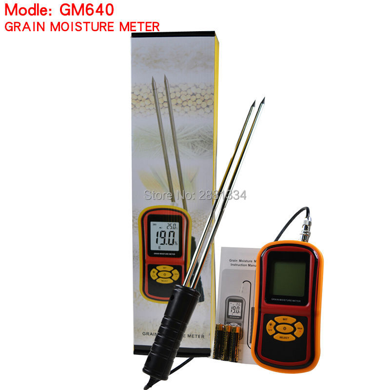 High Quality Digital Grain Moisture Meter with Measuring Probe Tester for Corn Wheat Rice Bean Wheat Hygrometer GM640 mc 7806 digital moisture analyzer price with pin type cotton paper building tobacco moisture meter