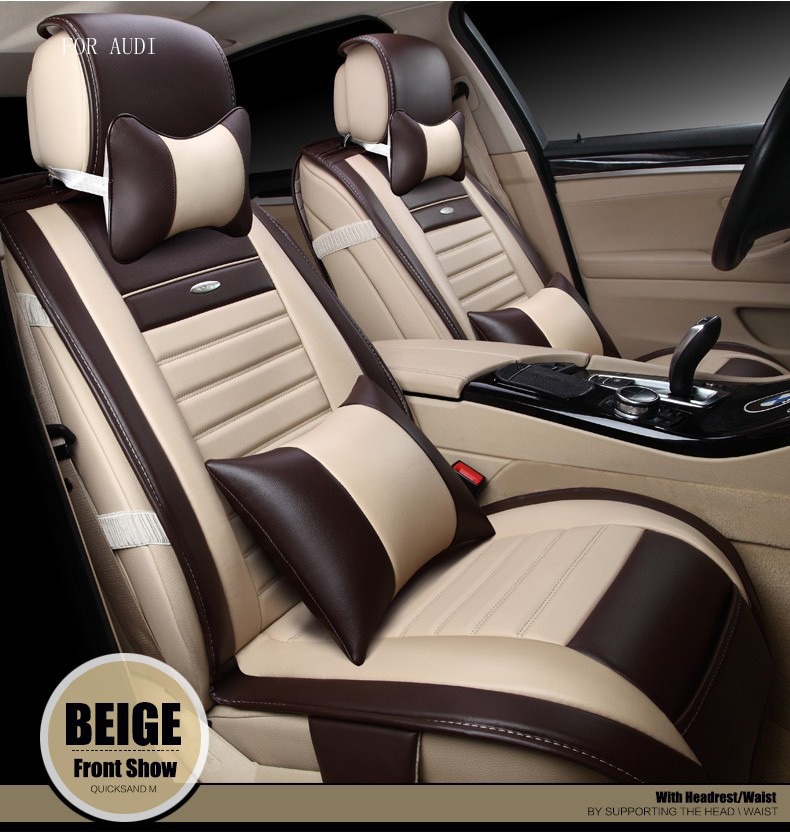 for audi A3 A4 A6 A5 A8 Q5 luxury waterproof mosaic pu leather car seat covers easy install front&rear seat accessories interior for audi a1 a3 a4 a6 a5 a8 q1 q3 q5 q7 new brand luxury soft pu leather car seat cover front
