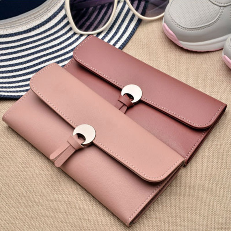 2018 Stylish PU Leather Long Wallet women Wallet Leisure Purse Simple Women Wallets Long Coin Pocket Card Holder Purse Fashion(China)