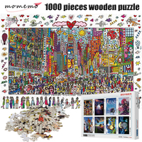 MOMEMO Times Square Puzzle 1000 Pieces Cartoon Painting Adult Puzzle Wooden Puzzle 1000 Pieces Puzzles Children Christmas Toys