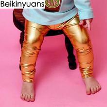 Newborn Baby Pants Golden Silver Black Synthetic like pu leather Boys Girls Leggings