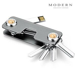 Image 5 - Modern Yepyeni Alüminyum akıllı anahtar Cüzdan DIY Anahtarlık Anahtar Tutucu Organizatör