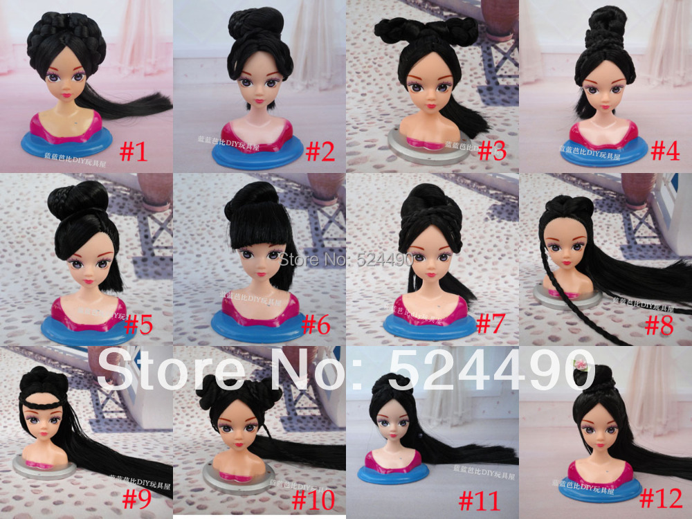 Lots 5 Pcs Handmade Ancient Costume Style Retro Long Hair Noble Doll s Head DIY Accessories