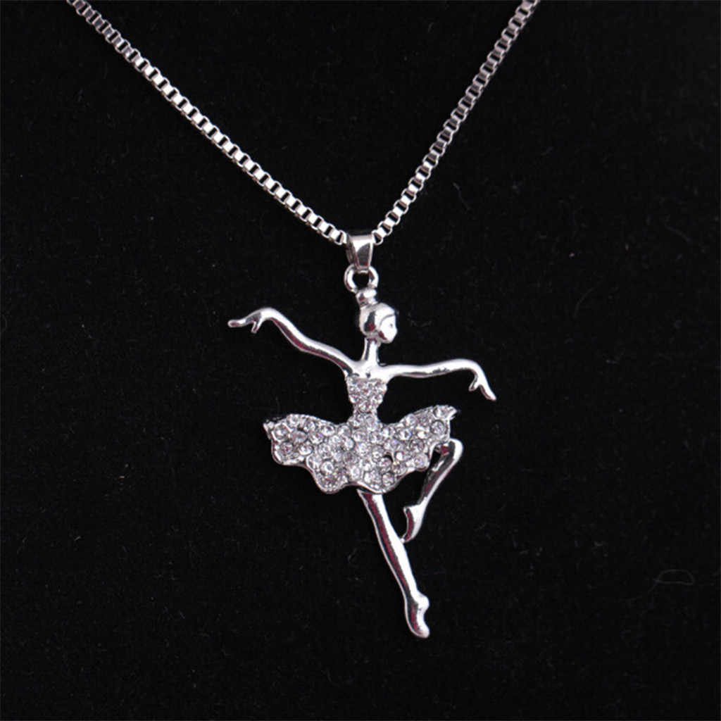 אופנה כסף מצופה לבן רוקד בלרינת רקדנית בלט ריקוד תליון שרשרת קסם בנות מתנה צווארון דה mujer תכשיטים