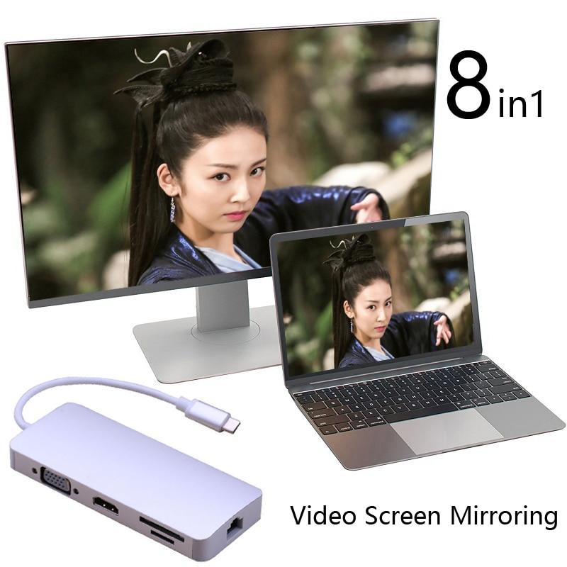 Adaptateur vidéo de Type C vers HDMI VGA + Ethernet Lan RJ45 + USB 3.0 + lecteur de carte SD TF pour Macbook Air Pro pour projecteur iMAC vers TV