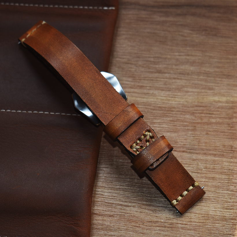 Handmade Vintage Leather Strap Watch Band Watch Accessories Bracelet 18mm 20mm 22mm 24mm yellow Watchband High Quality 2019 New in Watchbands from Watches