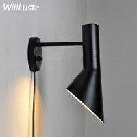 Willlustr AJ lâmpada de parede lâmpada de parede iluminação Dinamarca nórdico design moderno Luz de parede AJ arandela 2 tamanhos porta preto branco varanda