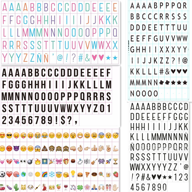 Letters Of A4a5 Light Box Black And Color Emoji Symbols Numbers