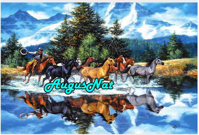 Paisaje diamante pintura correr caballos daimond bordado diamante dotz piedra preciosa pintura al óleo por número pegatina de cristal