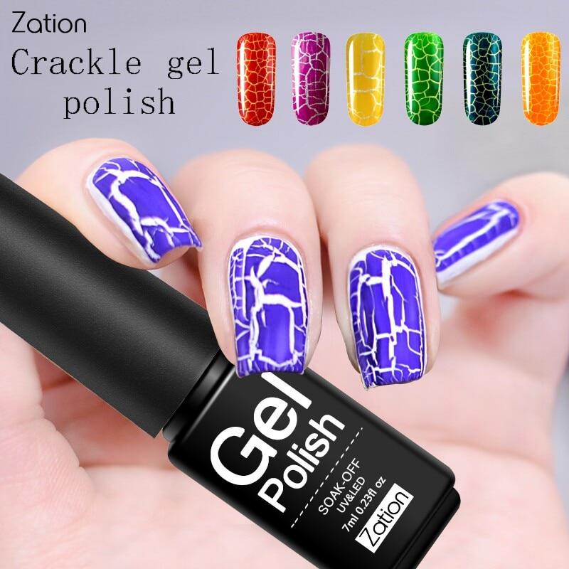 Zation Crack Charms Color Gel Nail Polish Cracking