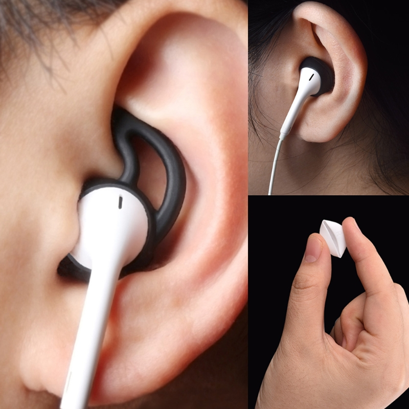 4Pairs set Eartip Silicone in ear Headset Earbuds Cover with Ear Hook for Apple font b