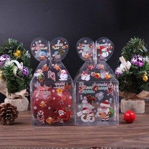 Image 3 - Caja de caramelos transparente de PVC, caja de regalo decorativa de Navidad, de Papá Noel, muñeco de nieve, alce, Reno, cajas de manzana de caramelo, 20 Uds.