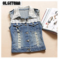 Female Vest Jeans Vest Women Denim Tassel Vest Lace Sleeveless Gilet Short Waistcoat