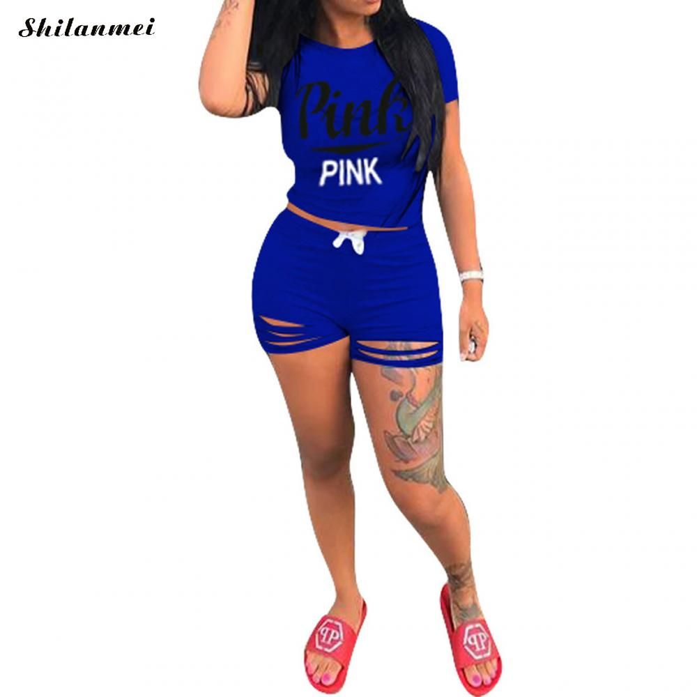 Cotton Ripped Plus Size Women Sets Casual Set Casual Short Sleeve Two Piece Top And Shorts Sport Pink Women Set 2019