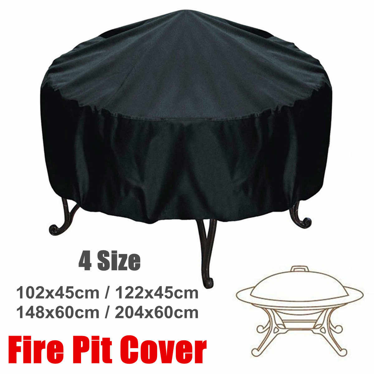 Rond 4 tailles Patio foyer anti-poussière couverture noir étanche barbecue cuisson protecteur jardin cour auvent abri couverture